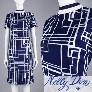M/L Vintage 60s MCM Space Age Mod Dress